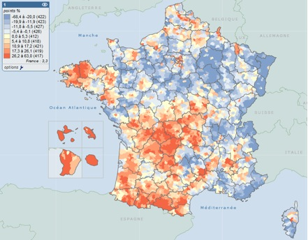 france map1 Francia: come cambia la geografia del voto