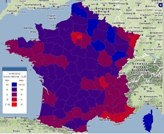 france map3 Francia: come cambia la geografia del voto
