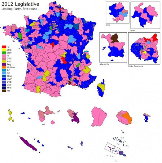 mappa collegi fra Legislative francesi: astensione e voto utile