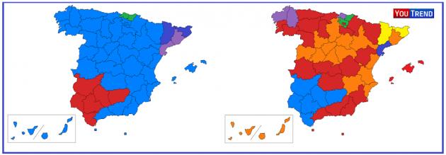 Spagna partiti per province