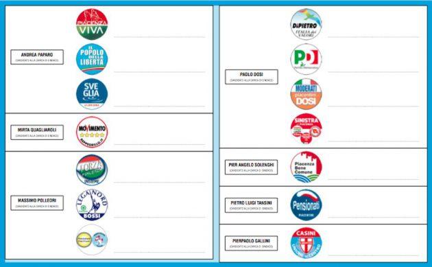 FAC-simile della scheda elettorale per il Comune di Piacenza (2012)
