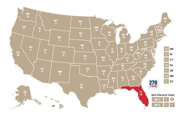 La Florida evidenziata sulla mappa degli Stati Uniti: è la penisola all'estremità meridionale della Costa atlantica