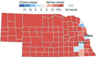 Il voto di otto anni fa in Nebraska: Obama riuscì a strappare un grande elettore vincendo nell'estremo lembo orientale dello stato, dove c'è Omaha, la città più grande