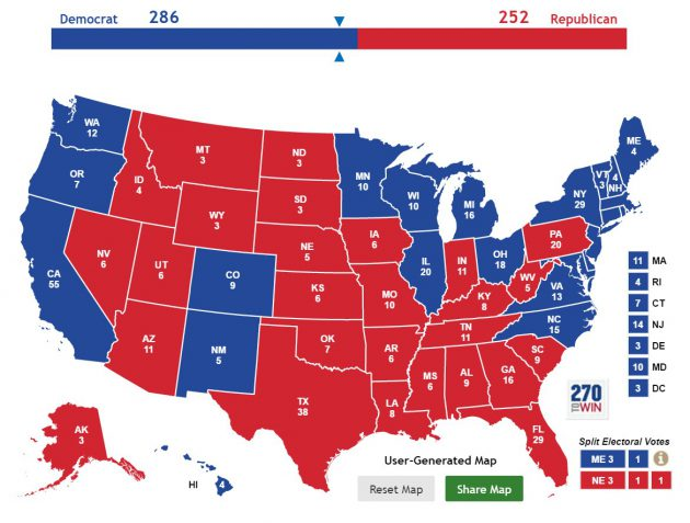 La mappa dei Grandi elettori con Ohio, New Hampshire e North Carolina a Hillary