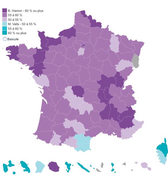 mappa secondo turno PS francia Francia: Hamon è il candidato dei socialisti. E ora?