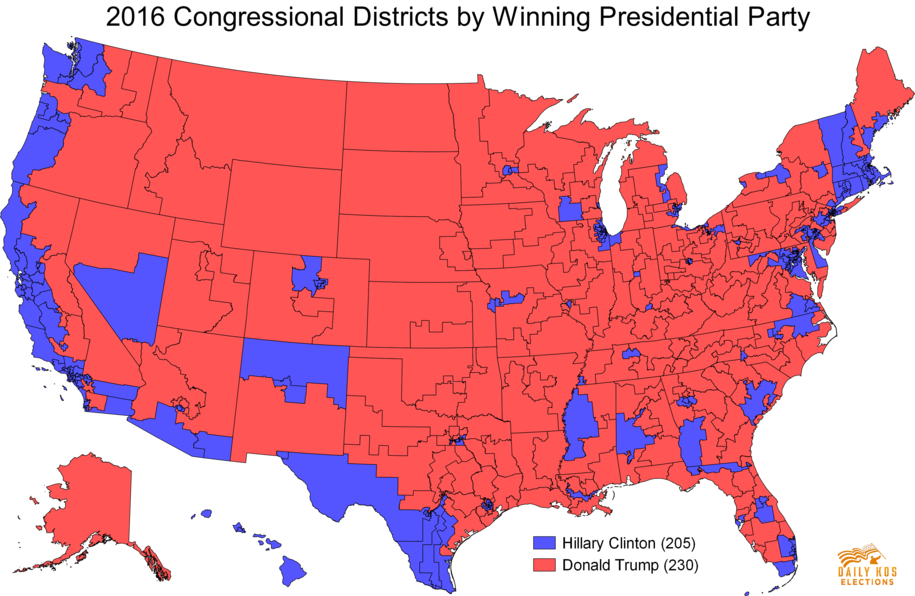 2016 House Districts by Presidential Party Winner Gli Stati (sempre più) Divisi dAmerica