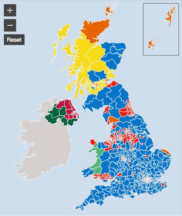 mappa BBC Regno Unito: analisi del voto