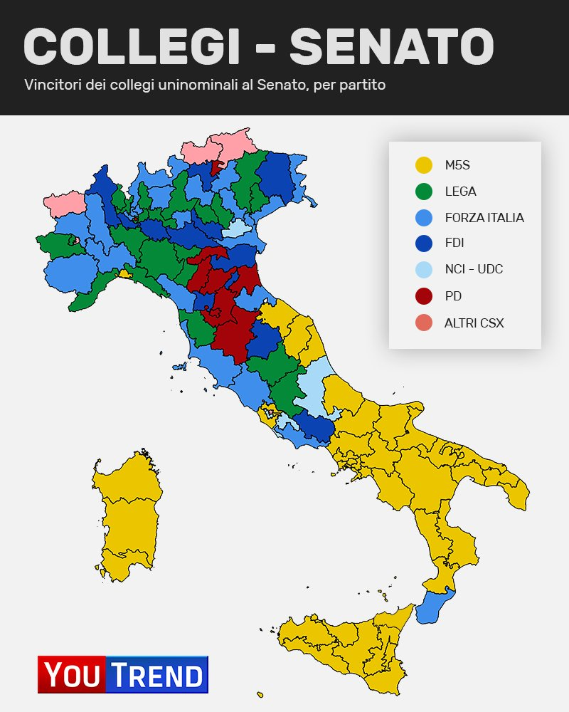 const map senate Politiche 2018: analisi del voto