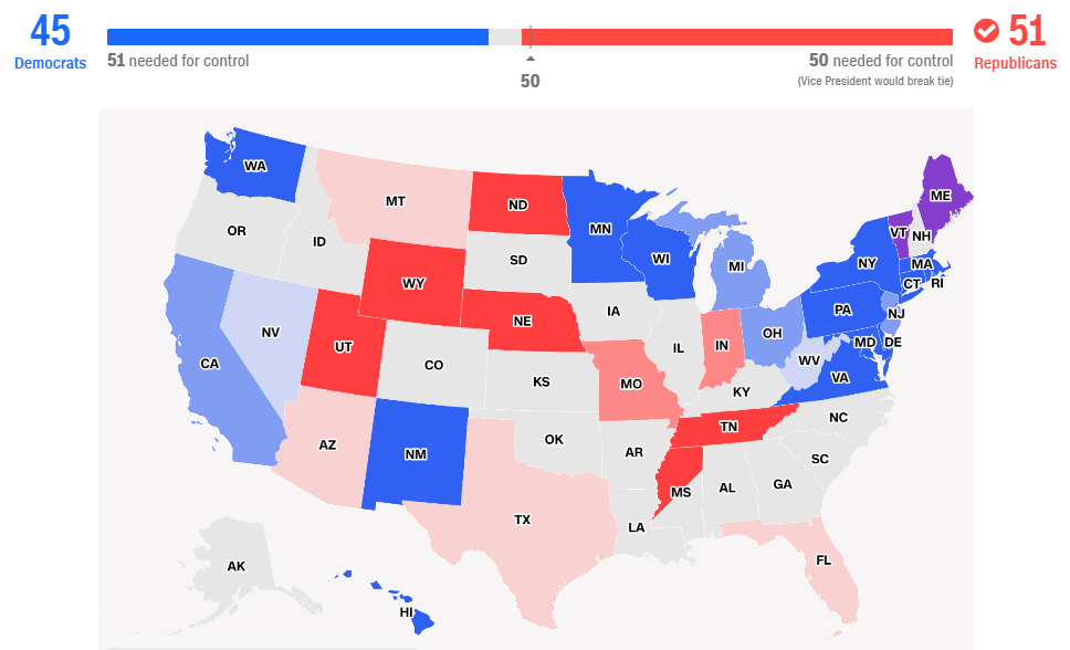 mappa risultati elezioni midterm senato Camera ai Democratici, ma i Repubblicani reggono