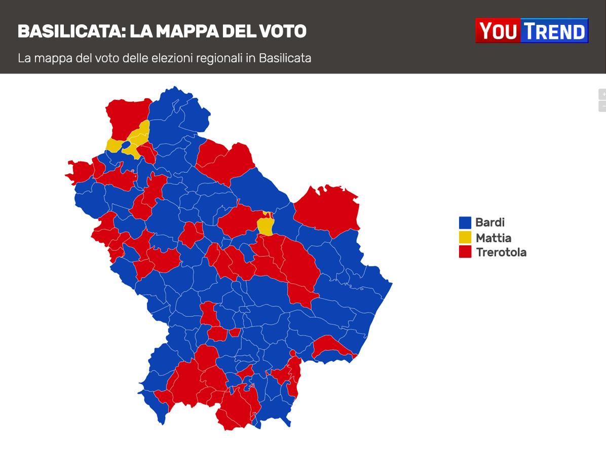 Mappa voto Basilicata