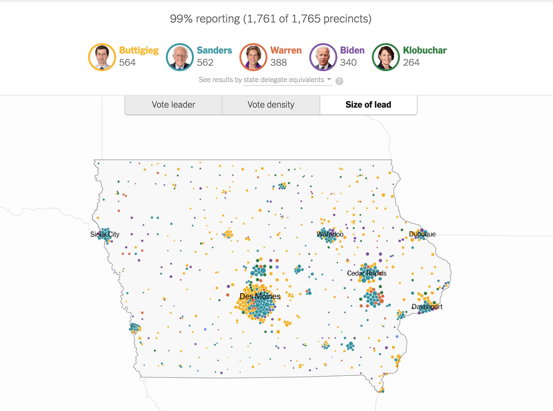 Mappa New York Times Iowa vantaggio