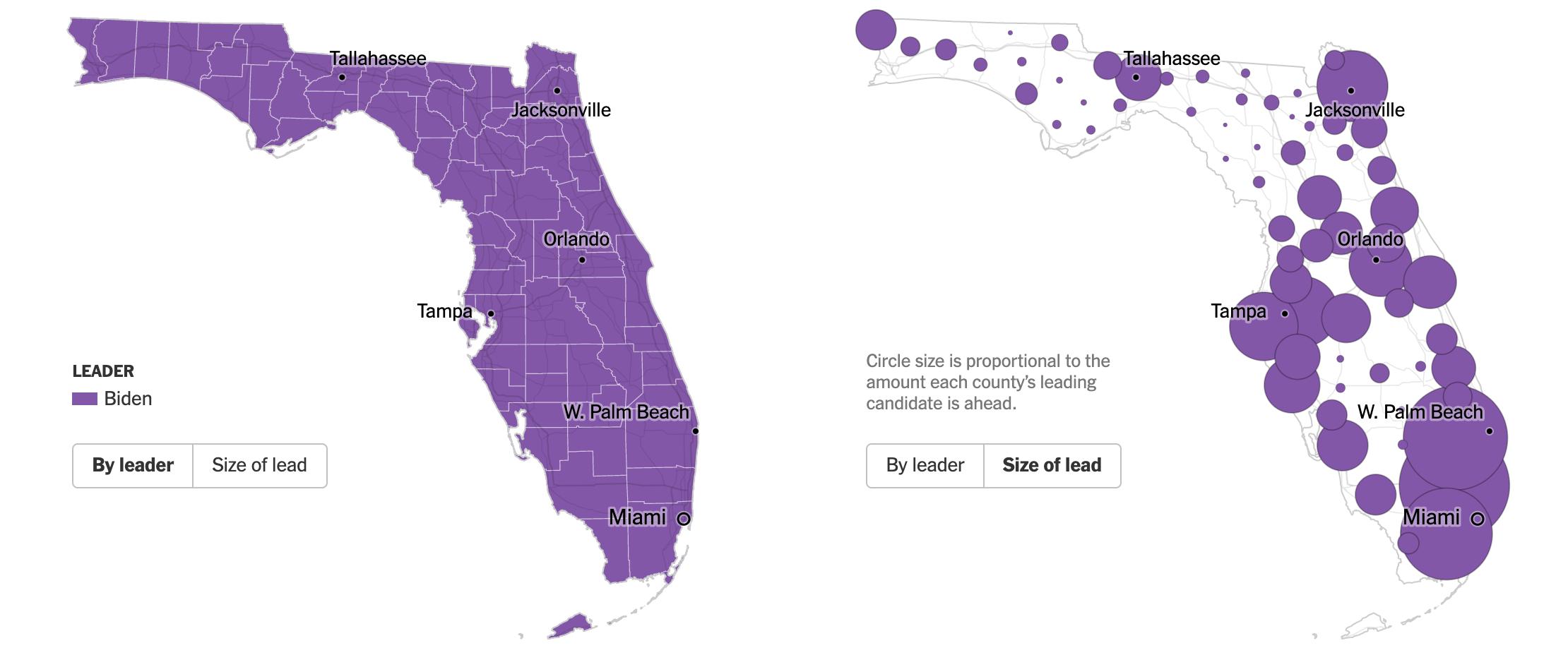 Mappa primarie democratiche 17 marzo Florida