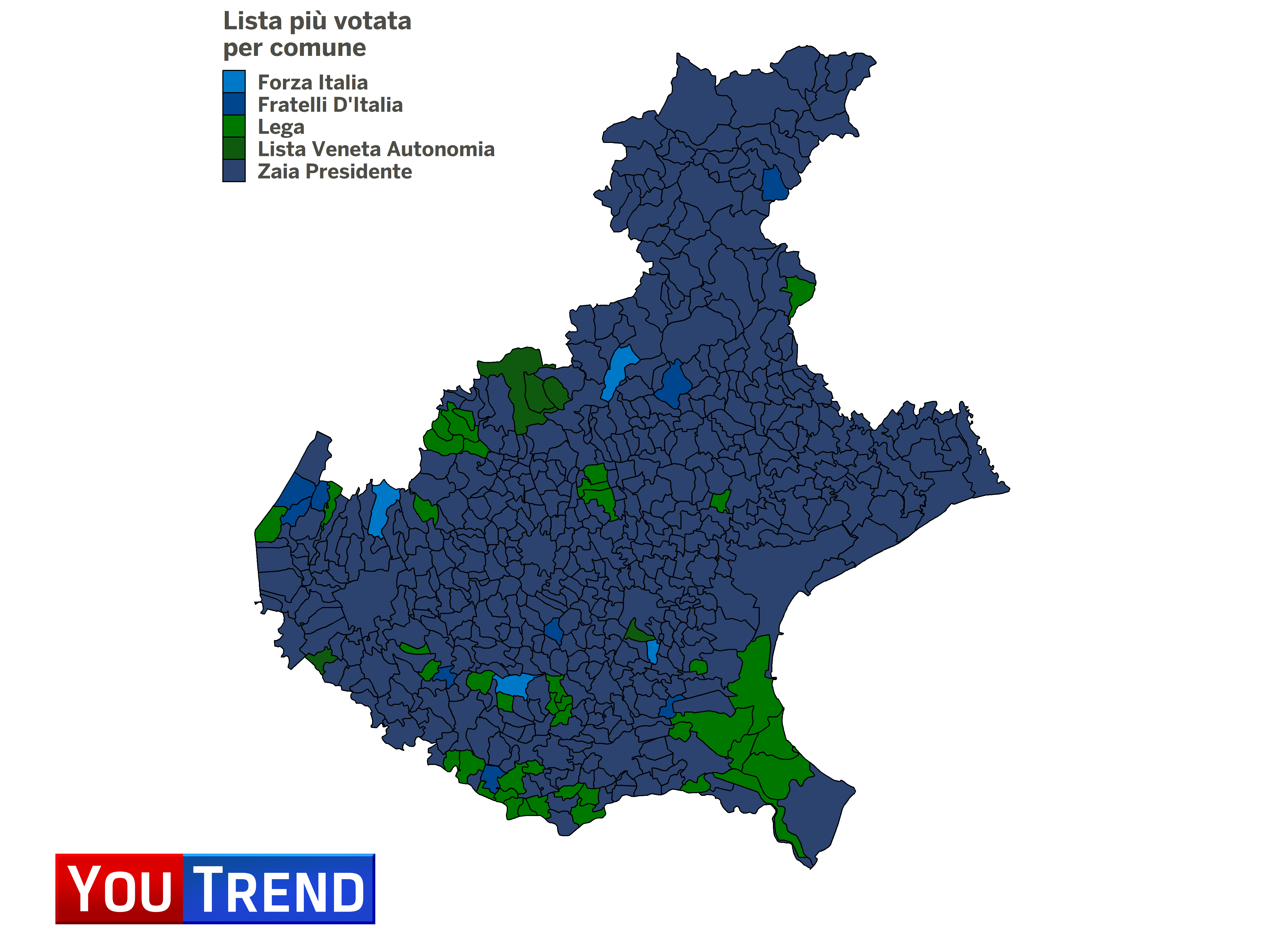 Cartina Veneto Comuni.Regionali In Veneto Il Trionfo Di Zaia Youtrend